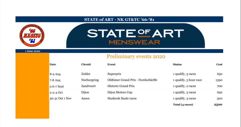 Kalender update June 2020